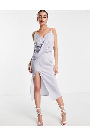 ASOS Drape front midi slip dress with wrap skirt