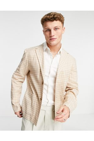 ASOS Soft tailored skinny linen blazer with micro check in camel-Neutral