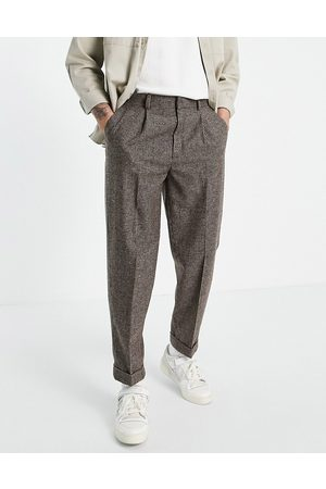 ASOS Oversized tapered wool mix smart trouser in stone puppy tooth-Neutral