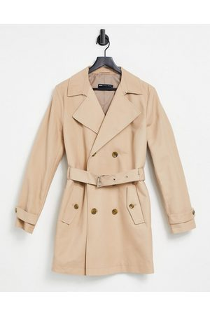 ASOS Shower resistant double breasted trench coat in stone-Neutral