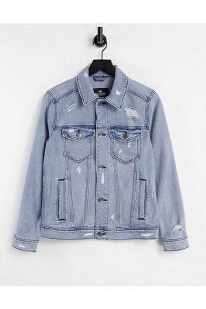 Hollister Men Denim Jackets - Indigo denim trucker jacket in medium wash