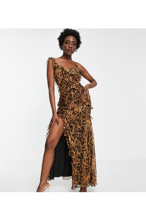 ASOS Women Printed Dresses - ASOS DESIGN Tall tiered ruffle detail maxi dress with tie back and button side in leopard print