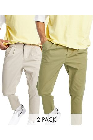 ASOS 2 pack cigarette chinos with pleats in dark khaki and beige save-Multi
