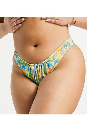 COLLUSION Women Hipsters - Plus recycled 80s high thigh bikini brief in neon floral print-Multi