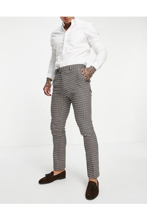 ASOS Wedding skinny suit trousers with puppytooth in camel-Neutral