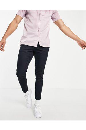 ASOS Skinny ankle grazer smart trouser in navy twill
