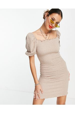 ONLY Women Bodycon Dresses - Shirred bodycon dress with puff sleeve in -Neutral