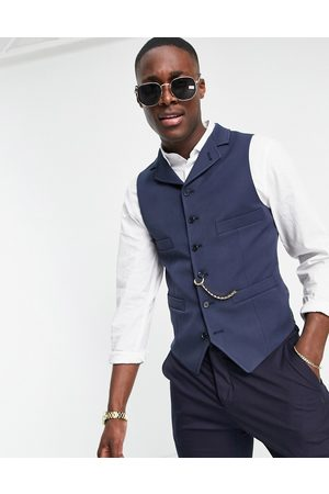ASOS Skinny double breasted waistcoat with gold chain in navy