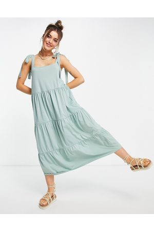 ASOS Women Casual Dresses - Square neck tie shoulder tiered maxi dress in sage