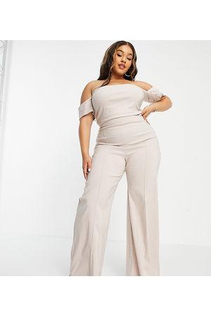 Vesper Wide leg trouser with seam detail co-ord in ecru