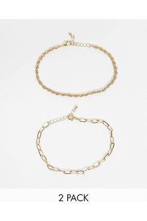 DesignB London Exclusive anklet multipack in with twisted and chunky chains