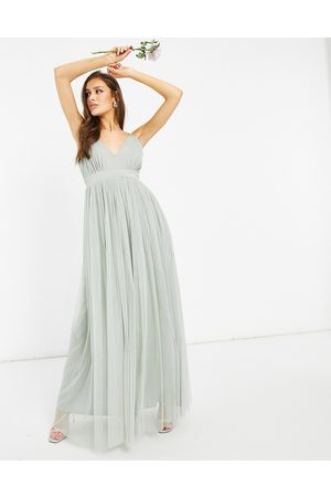 ANAYA With Love Bridesmaid tulle plunge front maxi dress in sage