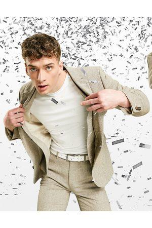 ASOS Super skinny wool mix suit jacket in oatmeal tweed-Neutral