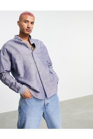 ASOS 90s oversized linen shirt in navy
