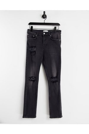 ASOS Men Slim - Stretch slim jeans with rips in washed