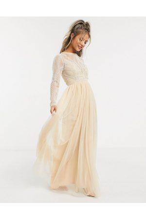 ASOS Women Party Dresses - Embellished bodice maxi dress with tulle skirt in soft beige-Multi