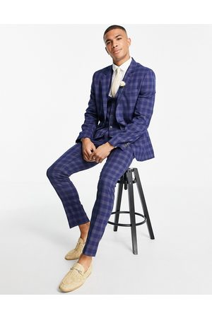 ASOS Wedding skinny suit trousers in and grey bold check