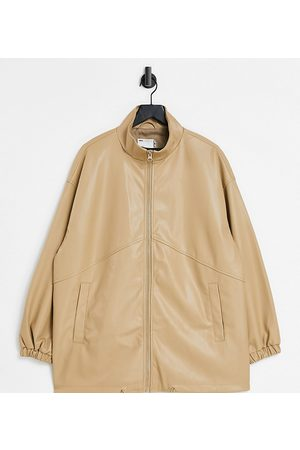 ASOS Curve faux leather bomber jacket in camel