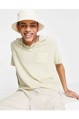ASOS Knitted oversized textured yarn polo in putty-Neutral