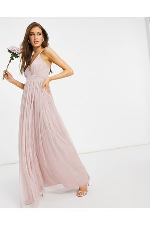 ANAYA Women Party Dresses - With Love Bridesmaid tulle plunge front maxi dress in