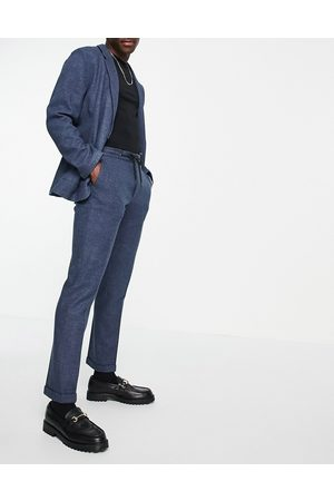 ASOS Slim soft tailored jersey suit trousers in navy wide twill and drawcord waist