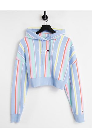 Tommy Hilfiger Pastel collection cropped hoodie in stripe