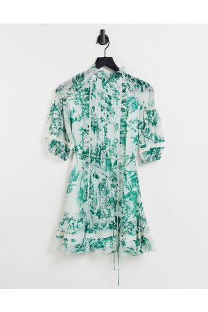 ASOS Women Printed Dresses - Tie neck mini dress with puff sleeve and button front detail in floral print