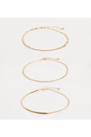 ASOS ASOS DESIGN Curve pack of 3 chain anklets in tone