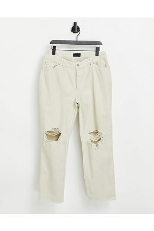 ASOS Hourglass mid rise '90's' straight leg jeans in putty with rips