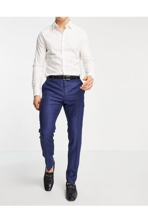 Calvin Klein Multicolour wool slim fit suit trousers-Navy