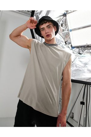 ASOS Men Camisoles - Oversized vest with tipped neck in -Neutral