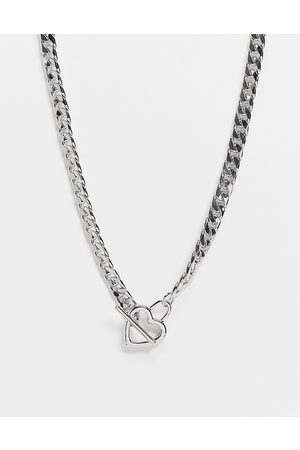 ASOS Women Necklaces - Short necklace in curb chain with heart t bar in tone