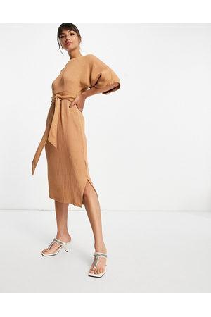 Closet Ribbed pencil midi dress in camel