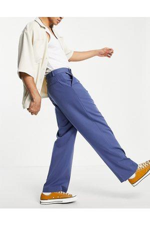 ASOS Wide leg smart trousers in navy