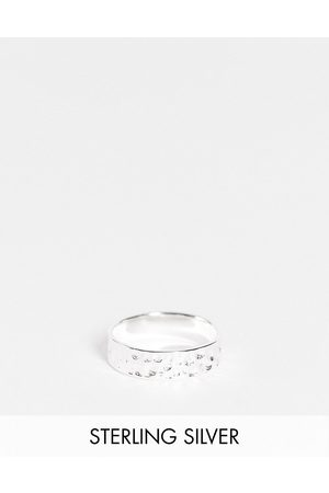 ASOS Men Rings - Sterling band ring with hammered texture in