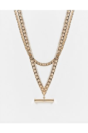 ASOS Multirow necklace with t bar pendant in tone