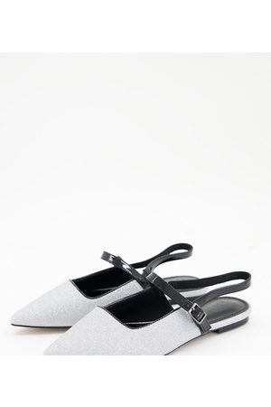 ASOS Wide Fit Lewin pointed mary jane flats in glitter