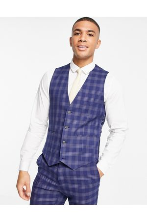 ASOS Wedding skinny suit waistcoat in and grey bold check