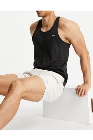 ASOS Icon training shorts in mid length with quick dry in stone-Neutral