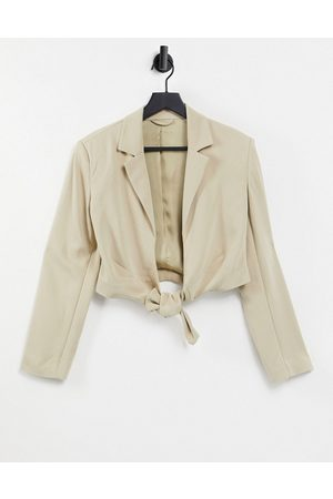 & OTHER STORIES Tie front tailored crop jacket in -Neutral
