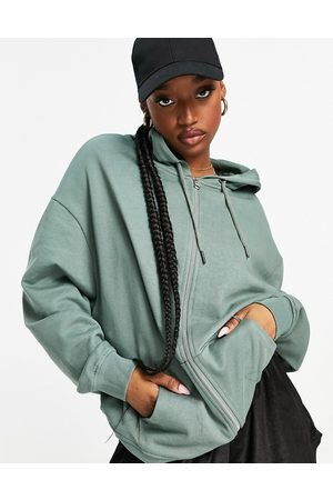 ASOS Organic cotton super oversized zip through hoodie in olive co-ord