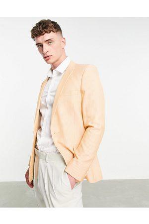 ASOS Super skinny suit jacket cotton pinstripe in