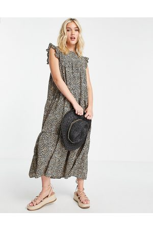 ASOS Sleeveless tiered midi dress with frills in leopard print-Multi