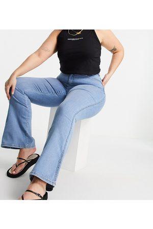 Dr Denim Moxy high waist flared jeans in light wash