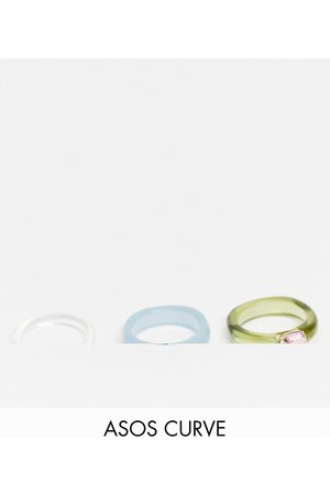 ASOS ASOS DESIGN Curve pack of 3 rings in mixed plastic with coloured crystals stones-Multi