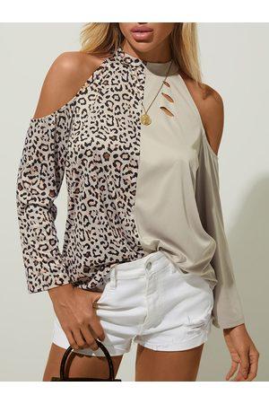 YOINS Women Long Sleeve - Leopard Patchwork Cold Shoulder Long Sleeves Tee