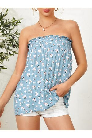 YOINS Women Strapless Tops - Calico Shirred Backless Design Strapless Tube Top