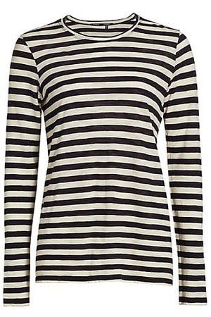 Proenza Schouler Women Long Sleeve - Stripe Long Sleeve Cotton T-Shirt