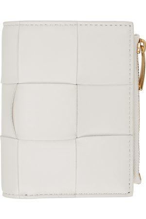 Bottega Veneta White Intrecciato Trifold Wallet