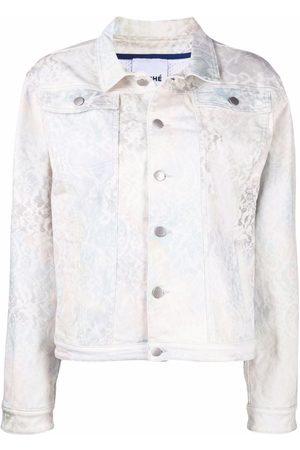 KOCHÉ Women Denim Jackets - Lace-print denim jacket